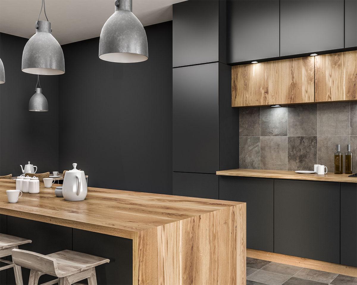 Küchenbeispiel modern mit Naturholz