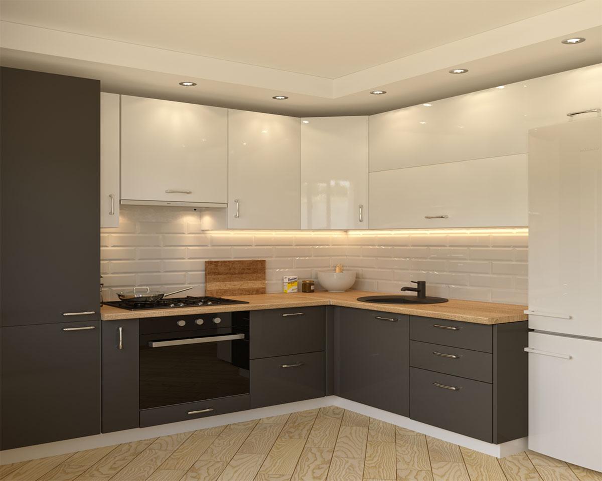 Küchenbeispiel schwarz-weiß