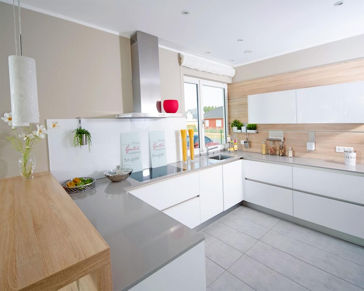 Küchenbeispiel Weiß Grau