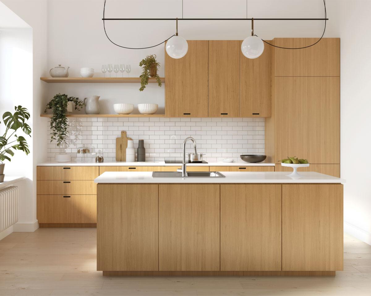 Küchenbeispiel mit Kücheninsel hell